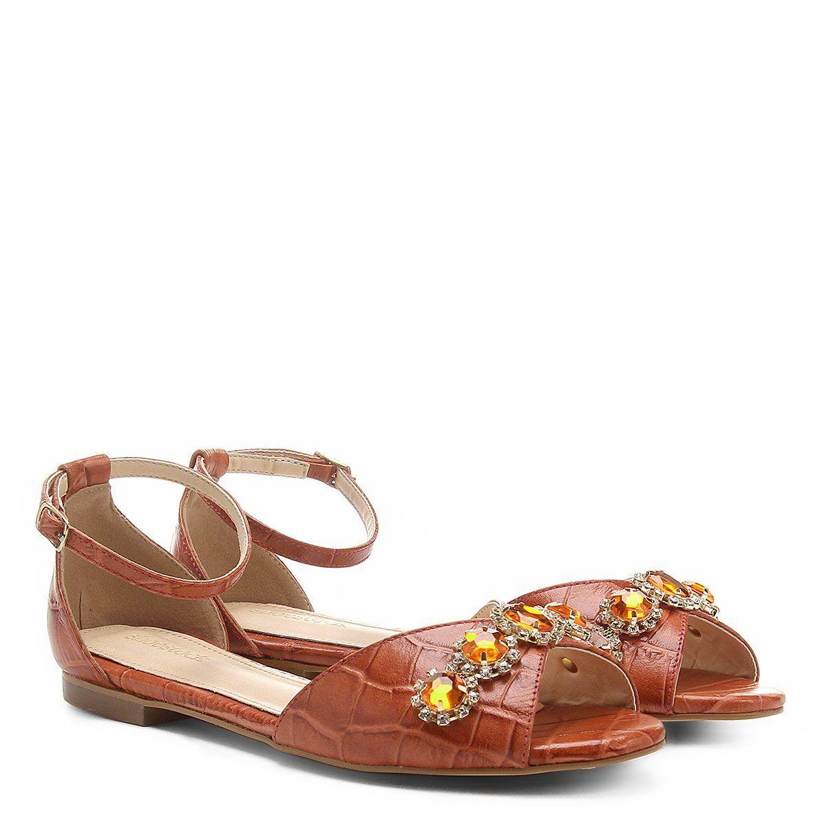 62953ea529 Rasteira Couro Shoestock Croco Feminina - Laranja