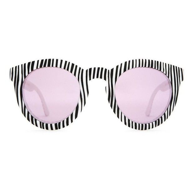 The T.V. Eye Sunglasses (2,100 THB) ❤ liked on Polyvore featuring accessories, eyewear, sunglasses, keyhole sunglasses, black and white sunglasses, rounded glasses, round sunglasses and striped sunglasses