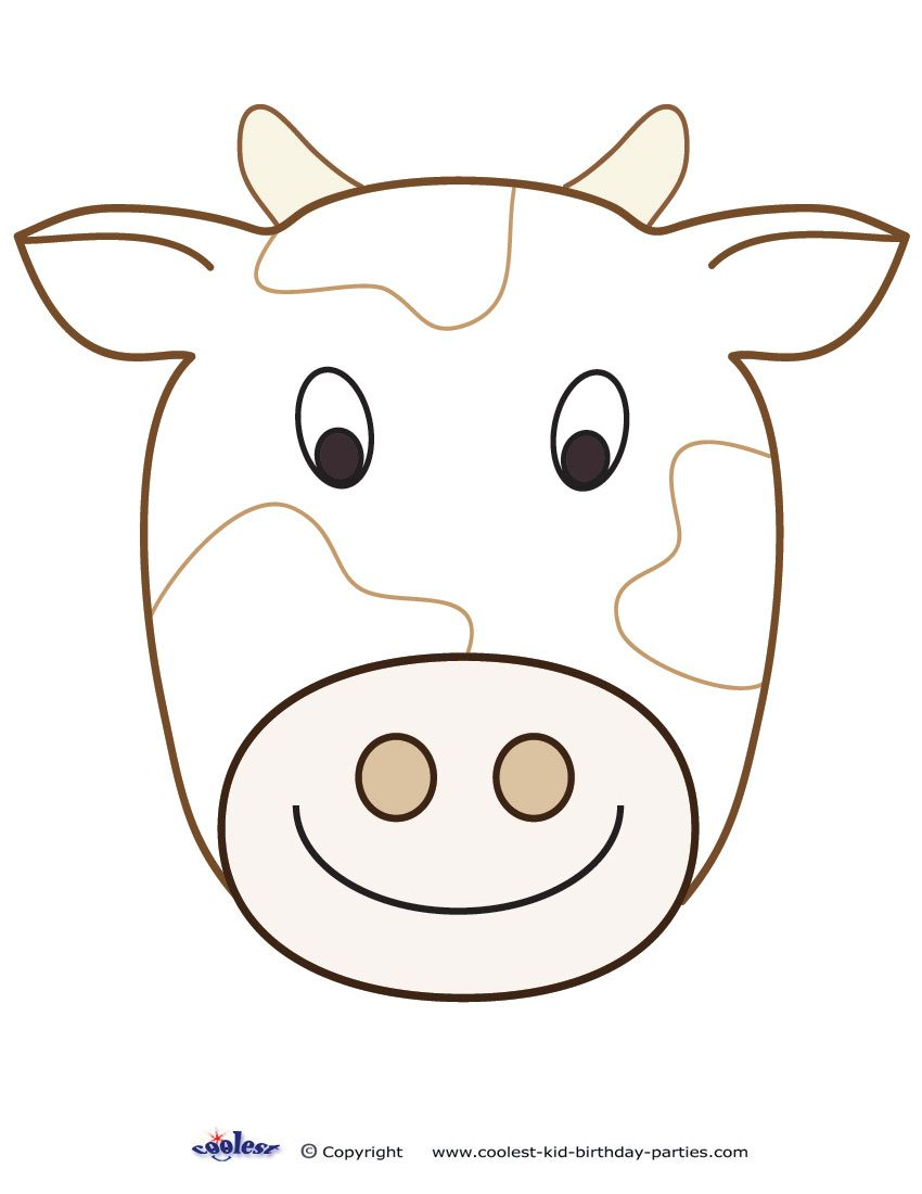 Large Printable Cow Decoration Cow Mask Animal Mask Templates Cow Craft [ 1100 x 850 Pixel ]