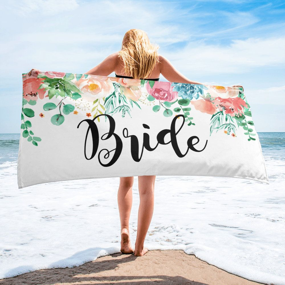 Bride Beach Towel Peach Pink Floral Gift For Bride Bridal