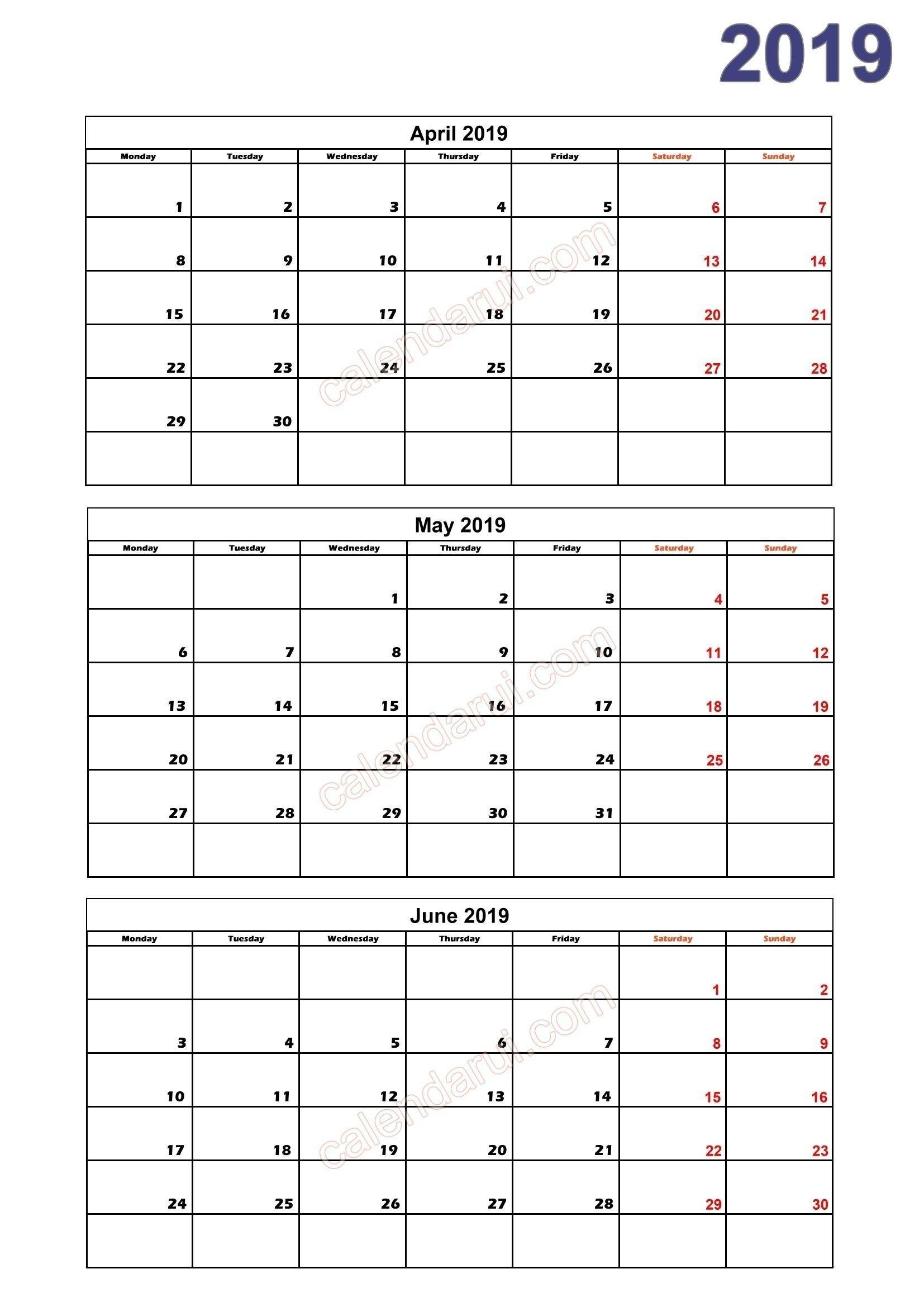 Get Free 2019 3 Month Calendar Templates Printable Download Monthly Calendar Template Blank Monthly Calendar Template Printable Calendar Pages