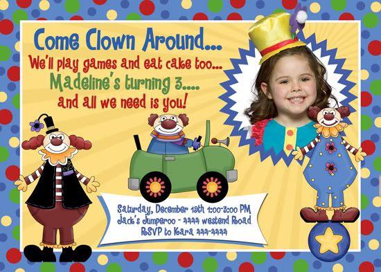 Now Clown Birthday Invitations Ideas