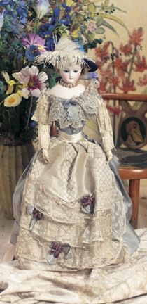 "Theriault's Antique Doll Auctions - Early Model of Gaultier Fashion Lady with Original Costume 20"" - circa 1865 - an early signed example from this important French porcelain firm."