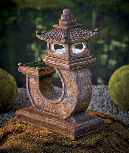 Solar Pagoda Lights Japanese Statuary Garden Decor Lantern Ceramic On/Off  Button