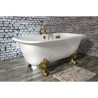 Photo of 67-inch cast iron claw foot tray with double ends and 7-inch tap holes (polished brass), gold, Kingston brass