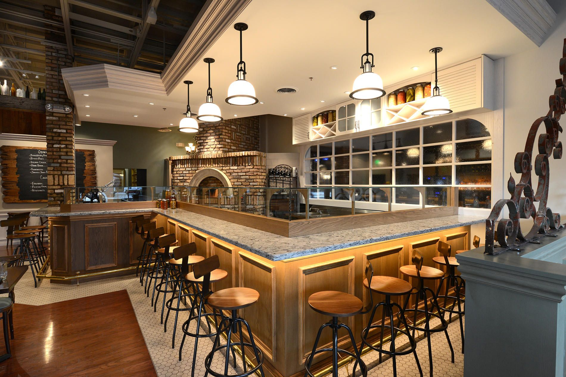 Beautiful Interior, Fabulous Restaurant Bar Designs With Classic Wooden Bar Table  With Gray Marble Counter Top Combined Unique Bar Stool And Classic Pendant  Lamps ...