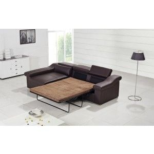 detailed look b2560 9646f T136 Modern Brown Leather Sofa w/ Pull-Out Sofa Bed | Man ...