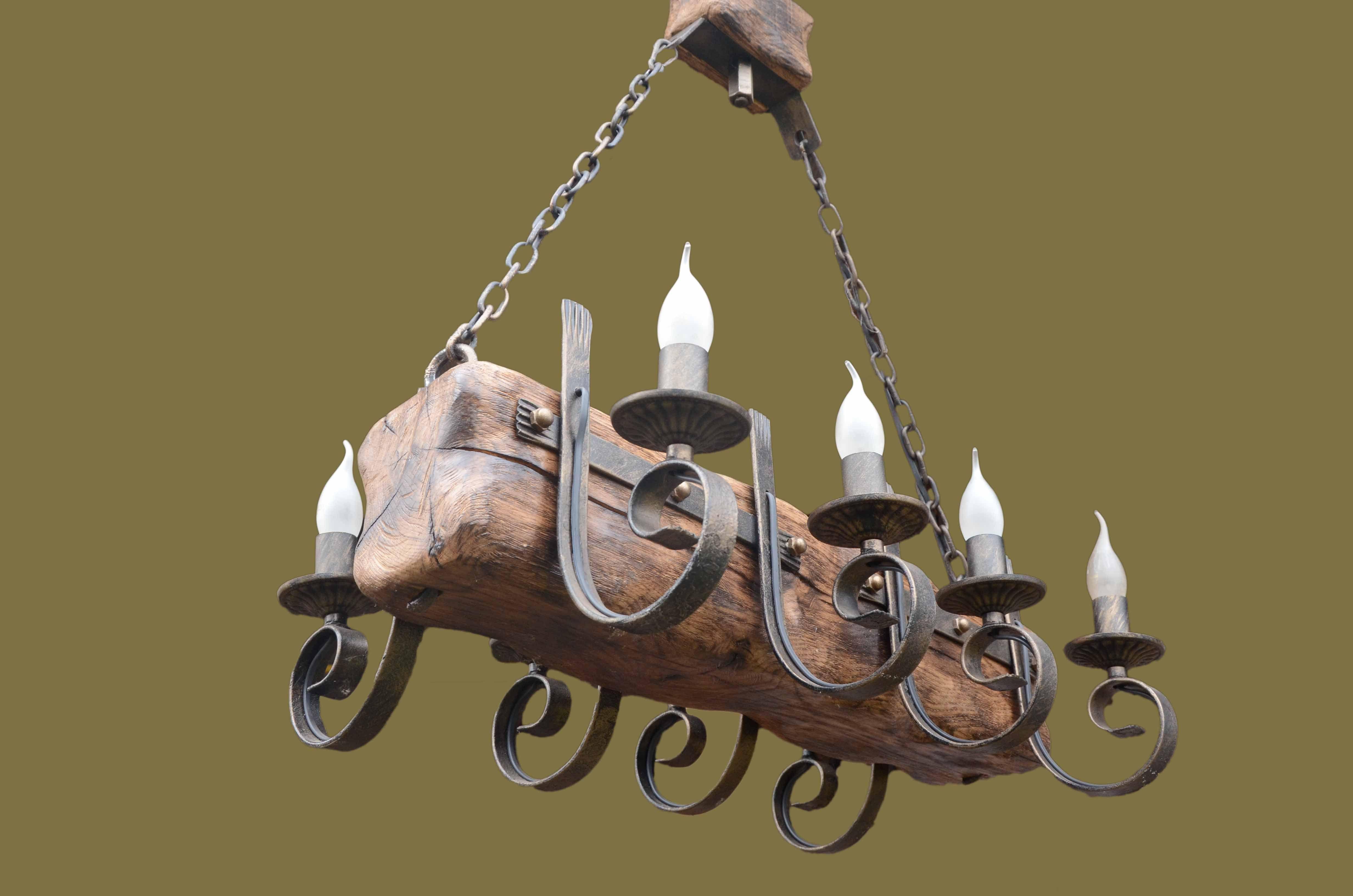 Rustikale esszimmerbeleuchtung ideen Модель Кованая люстра isfir бревно  свечек Производитель isfir