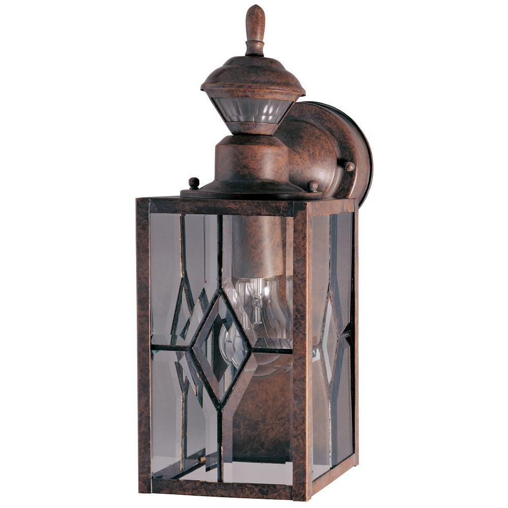 Heath Zenith Outdoor Lighting 150 degree rustic brown mission lantern with clear beveled glass heath zenith 150 degree rustic brown mission lantern with clear beveled glass workwithnaturefo