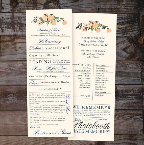 vintage floral wedding program 1 or 2 sided digital file unique