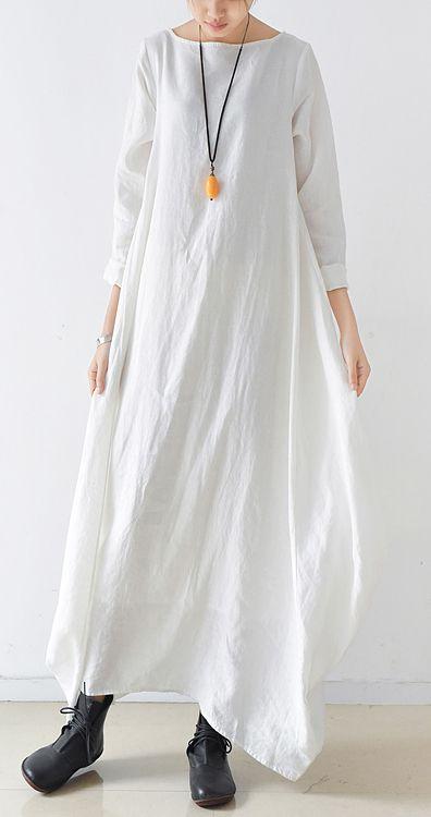 f5129a331 White linen caftans long linen dresses plus size maxi length gown ...