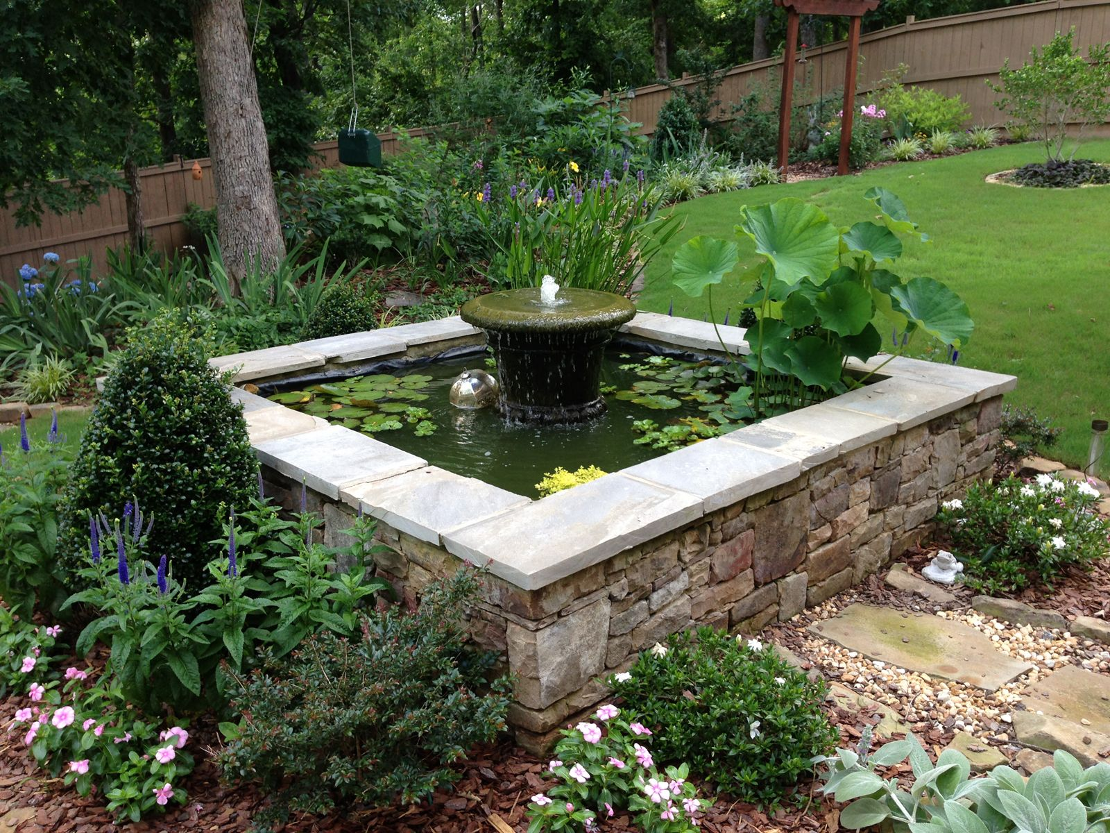 Square water pool carol bill 39 s garden in georgia for Fish pond fountain design