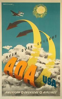 American Overseas Airlines to USA by Lewitt Him - 1948