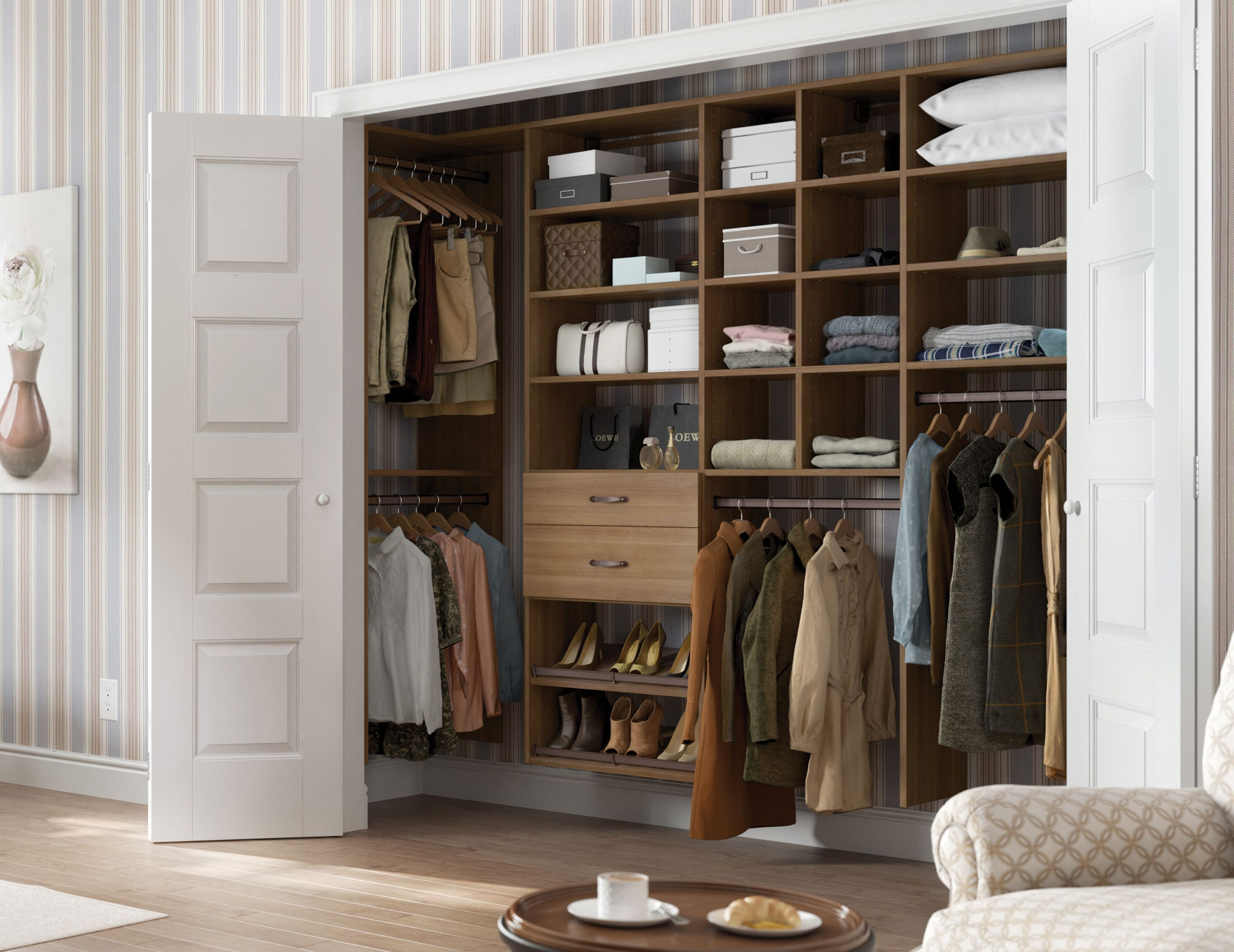 A Custom Designed Reach In Closet Offers Space Saving Solutions To