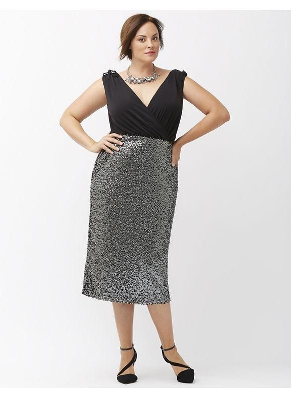 cfe70b4a1eb Home    Midi Dresses    Lane Bryant Plus Size Sequin midi sheath dress