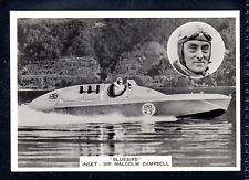 """ARDATH PHOTOCARD """"BLUEBIRD"""" INSET SIR MALCOLM CAMPBELL-MOTOR BOAT SPEED RECORD"""