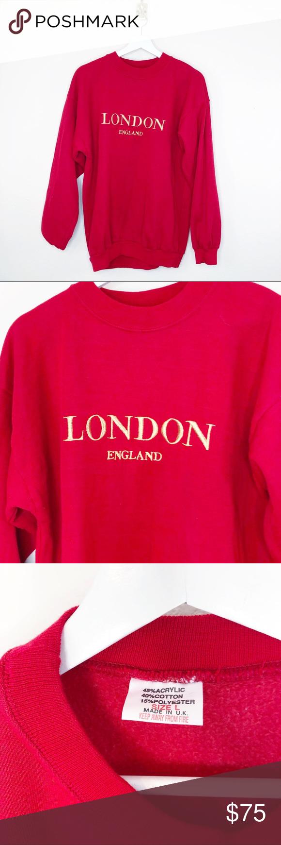 Vintage London Embroidered Crewneck Sweatshirt Embroidered Crewneck Sweatshirts Crew Neck Sweatshirt [ 1740 x 580 Pixel ]