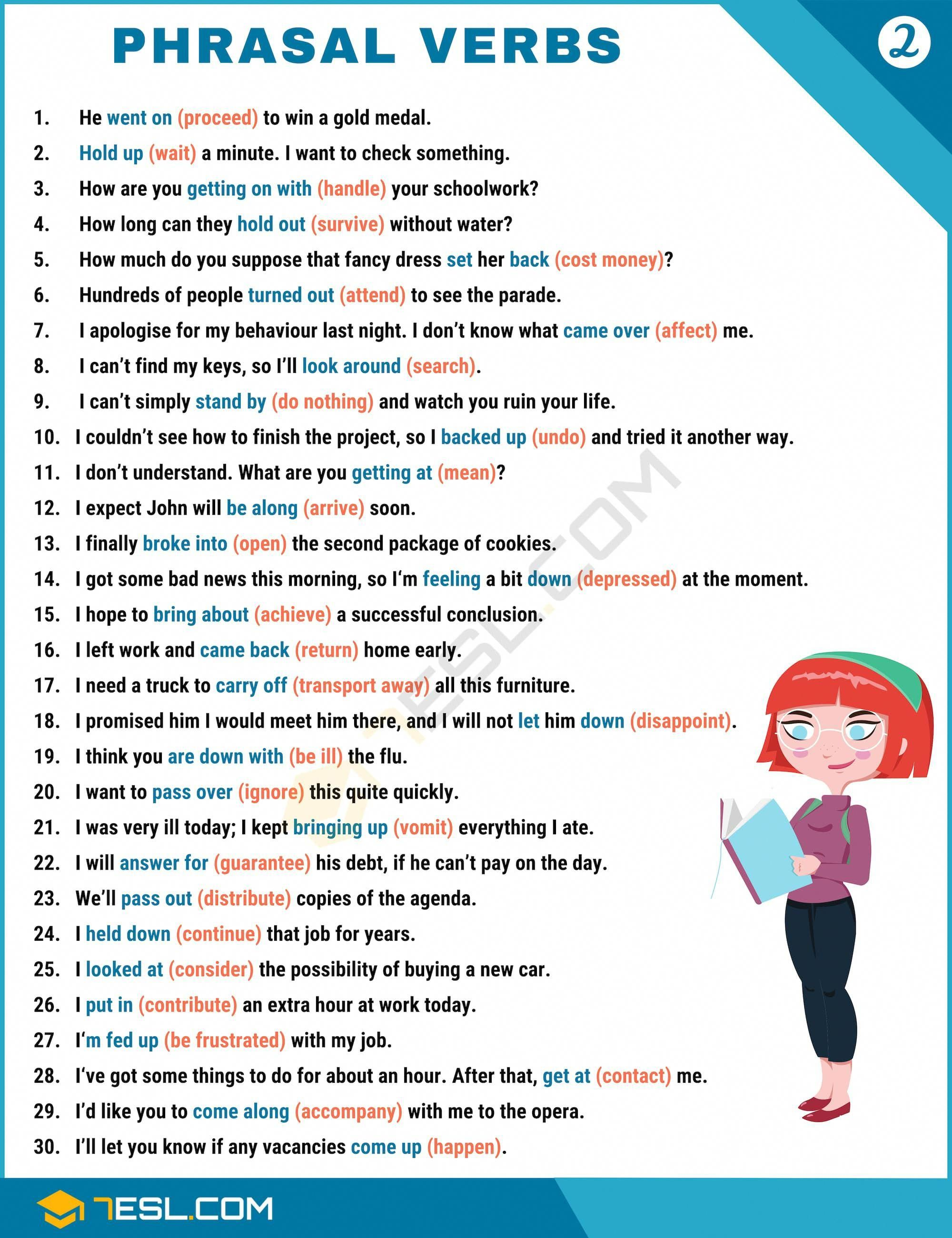 2000 Phrasal Verbs List From A Z To Sound Like A Native 7esl Verbs List Learn English Vocabulary English Language Classes [ 2600 x 2000 Pixel ]