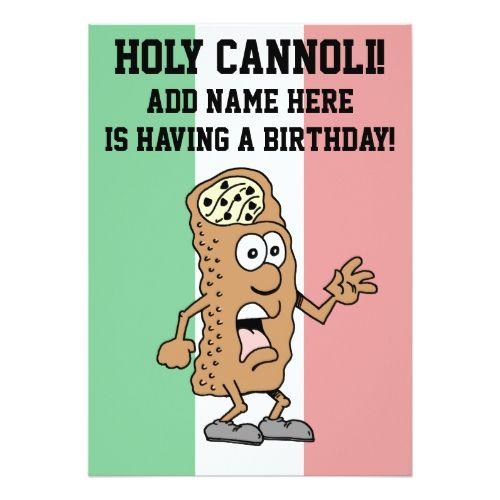 Holy Cannoli Italian Flag Of Italy Birthday Invitation