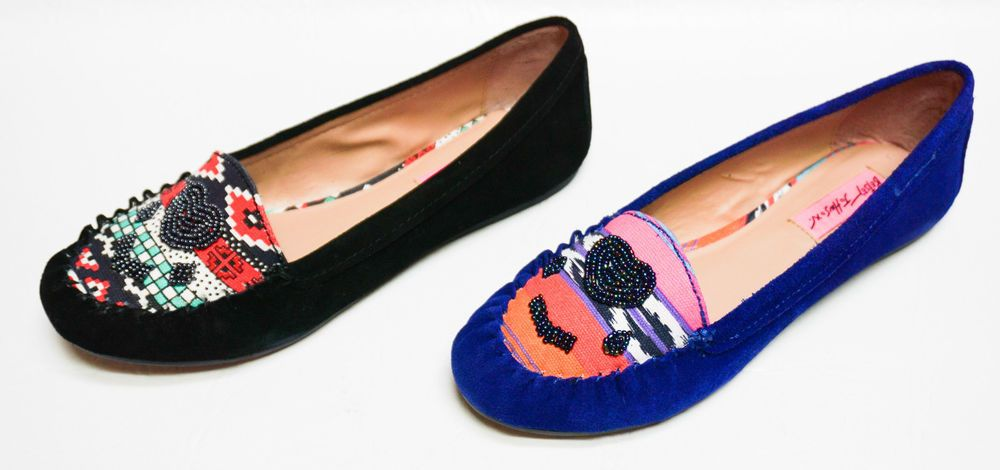 9d649423c93d Betsey Johnson womens MAYHEMM suede beaded moc toe flats shoes 6 6.5 8 8.5  NEW  BetseyJohnson  Moccasins  Casual