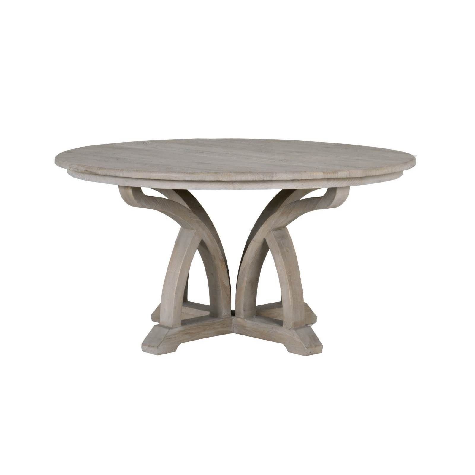 Gather Around This Phillip Distressed Grey Finish Elm Round Dining Table
