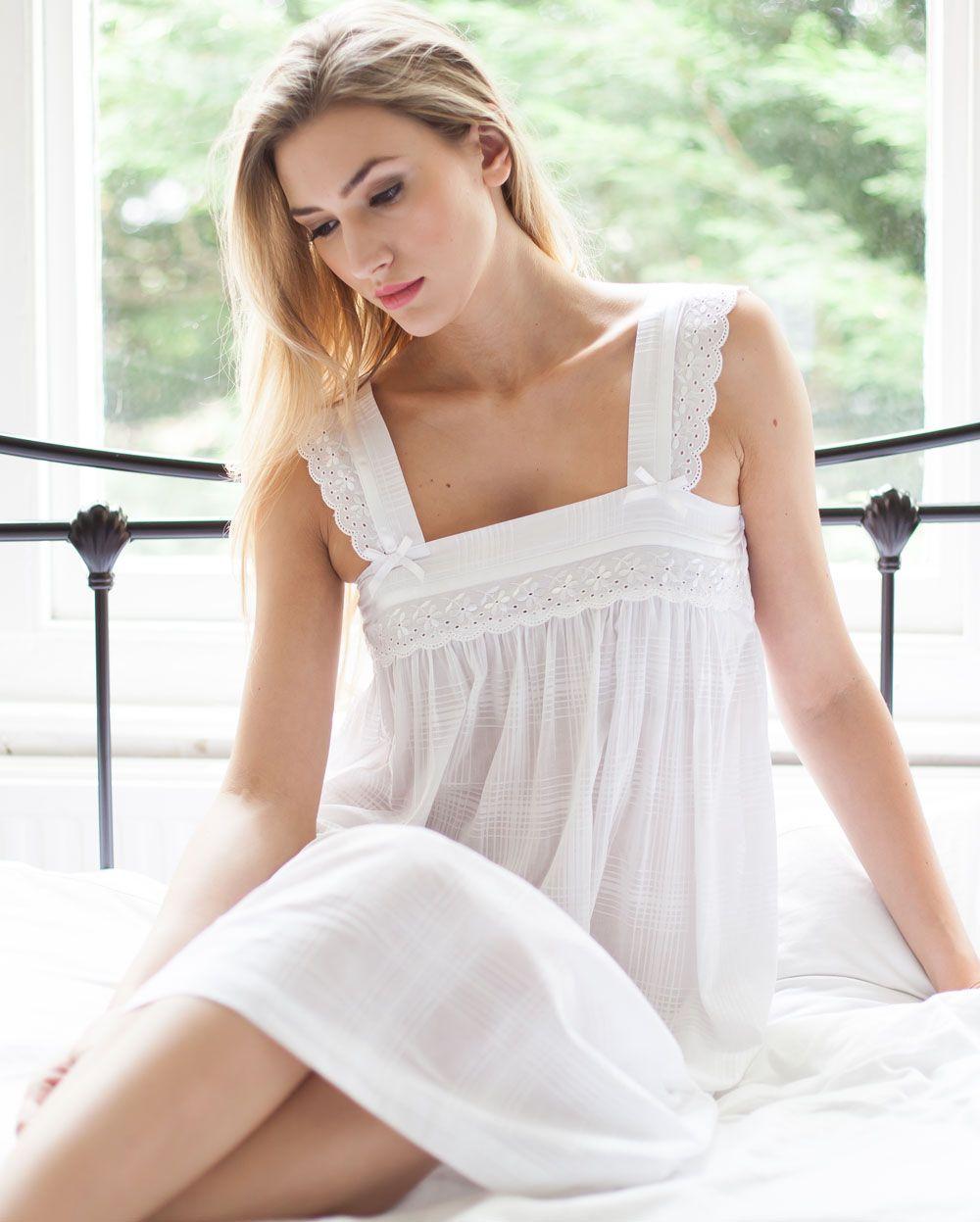 Nana Cotton Lawn Wide Shoulder Strip Nightdress  5696ec031