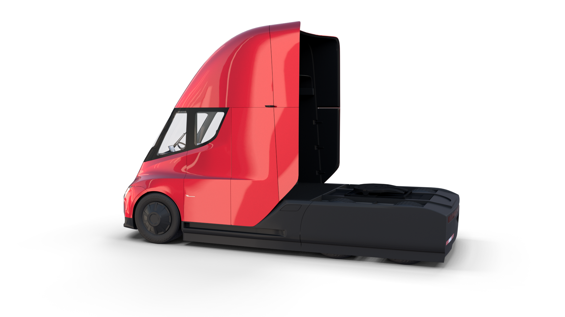 Tesla Truck With Chassis And Interior Red Ad Truck Tesla Chassis Red Tesla Semi Truck Semi Trucks Tesla