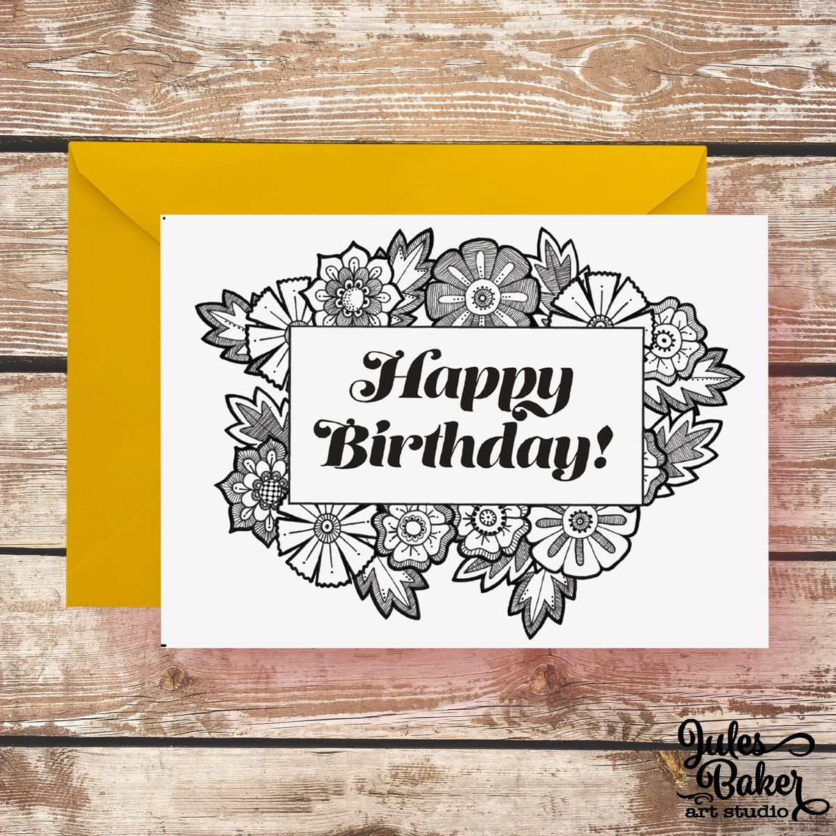 Happy Birthday Card Coloring Greeting Card 5x7 A7 Inspirational
