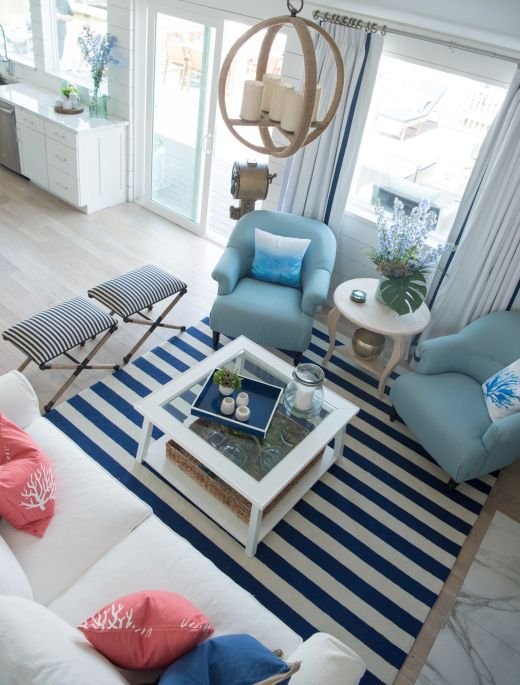 Coastal Interiors With Navy Blue White Striped Area Rugs Coastal Living Rooms White Furniture Living Room Rugs In Living Room