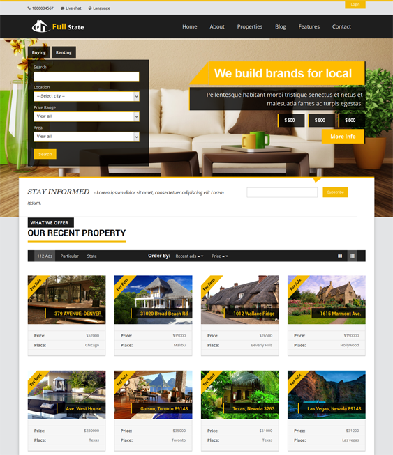 This real estate WordPress theme features a responsive layout ...