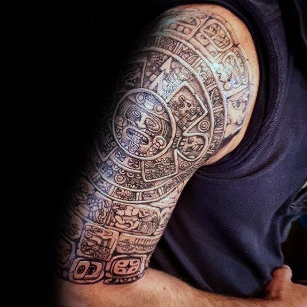 5fc5cc1682535 80 Mayan Tattoos For Men - Masculine Design Ideas | Mayan tattoos ...