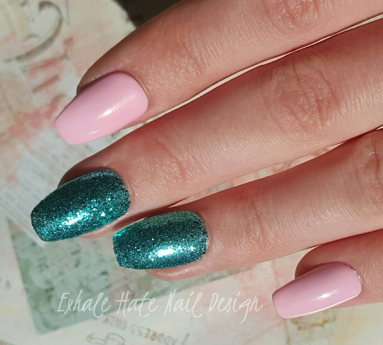Pink & Turquoise Glitter Mermaid Gel Polish Press on Fake Nails ...