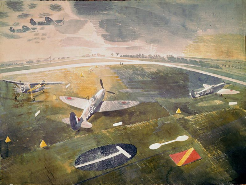 Eric Ravilious - R.A.F. planes on an airfield (w/c on paper) by Ravilious, Eric (1903-42); Private Collection; English, in copyright - Google Search
