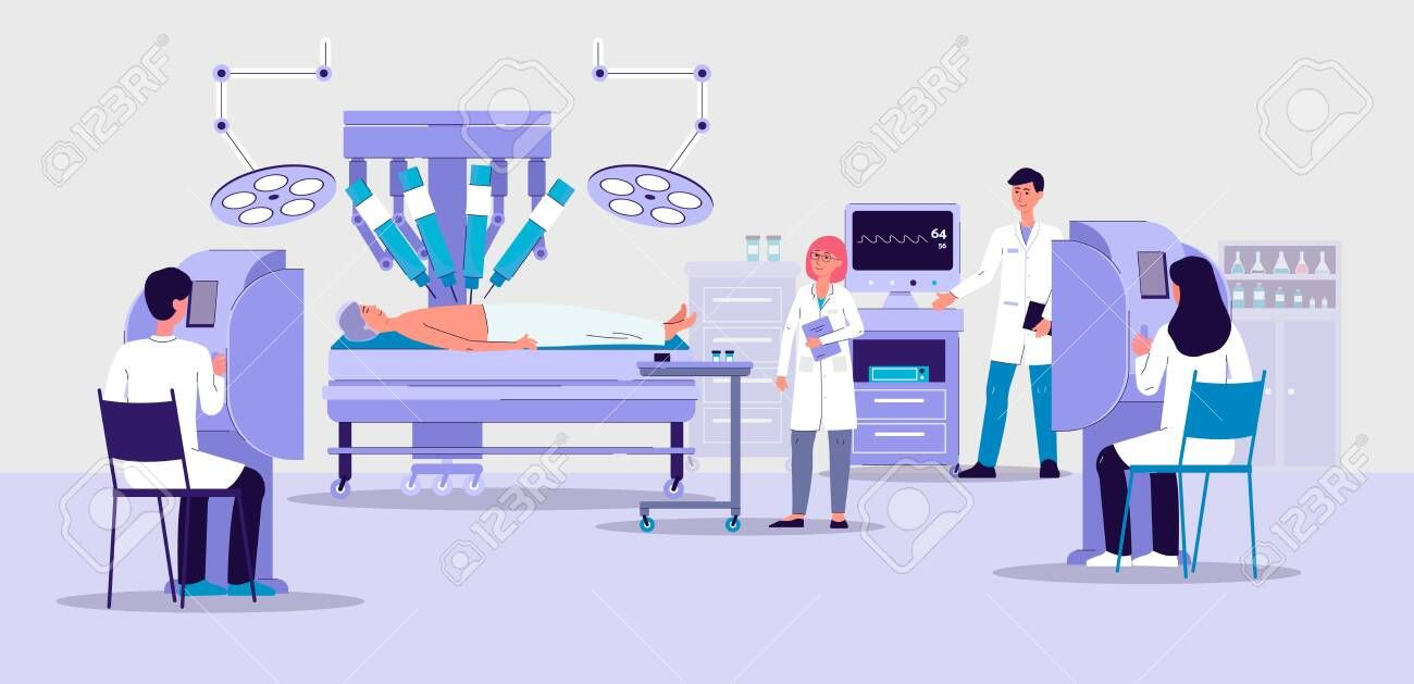 Robotic surgery banner with futuristic hospital room interior and doctors lookin… db9f84056f2d327fc6652b6bb4965e23