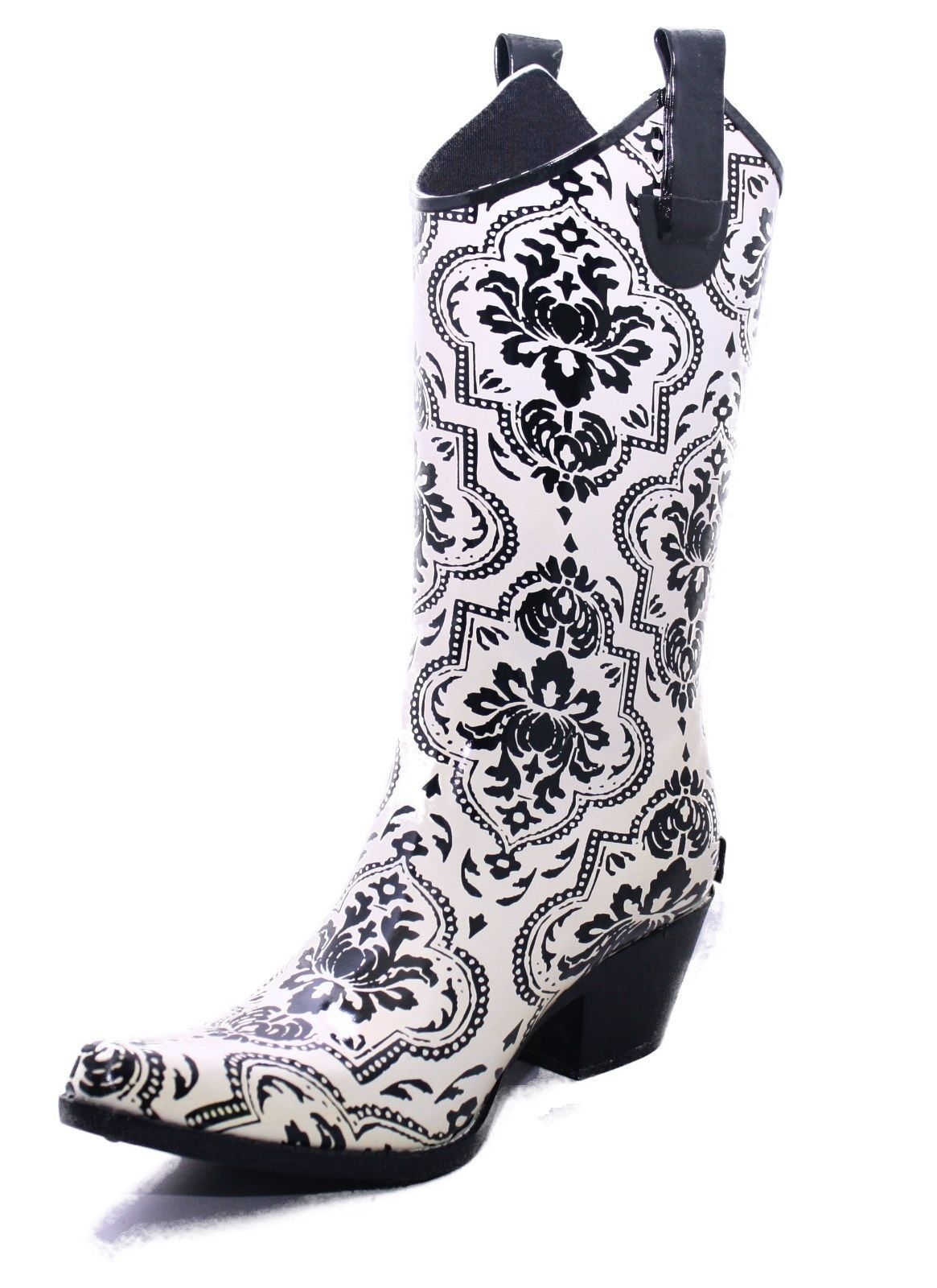e1342a267ff4c Details about Corky's Printed Rubber Rodeo Style Black Off White ...