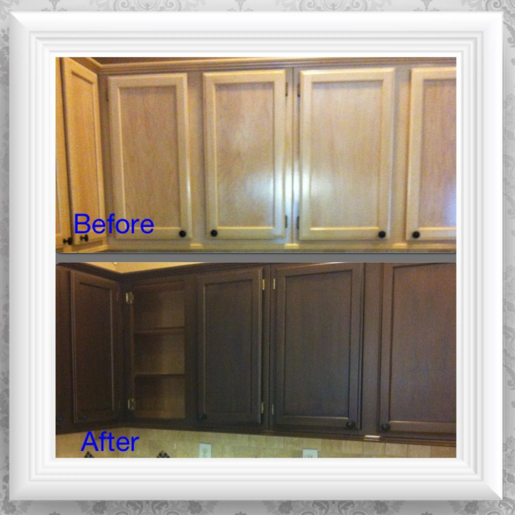 Diy Gel Stain Kitchen Cabinets Black With The Faux: DIY Kitchen Cabinet Makeover. Primer, Metallic Bronze