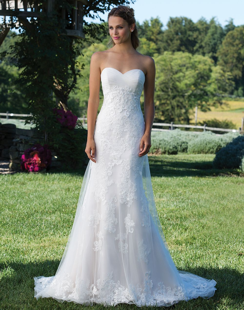 Sincerity wedding dress style 3979 This lace and organza A-line gown ...