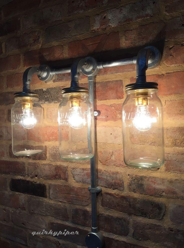 Industrial Steampunk Jam Jar Wall Light Cafe Bar Triple