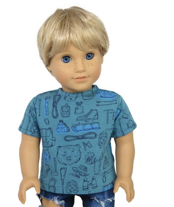 Top.  Teal T-Shirt with Camping, Hiking Print.  Bears, Moose, Hiking Tools Tee.  18 Inch Doll Clothes. #18inchdollsandclothes