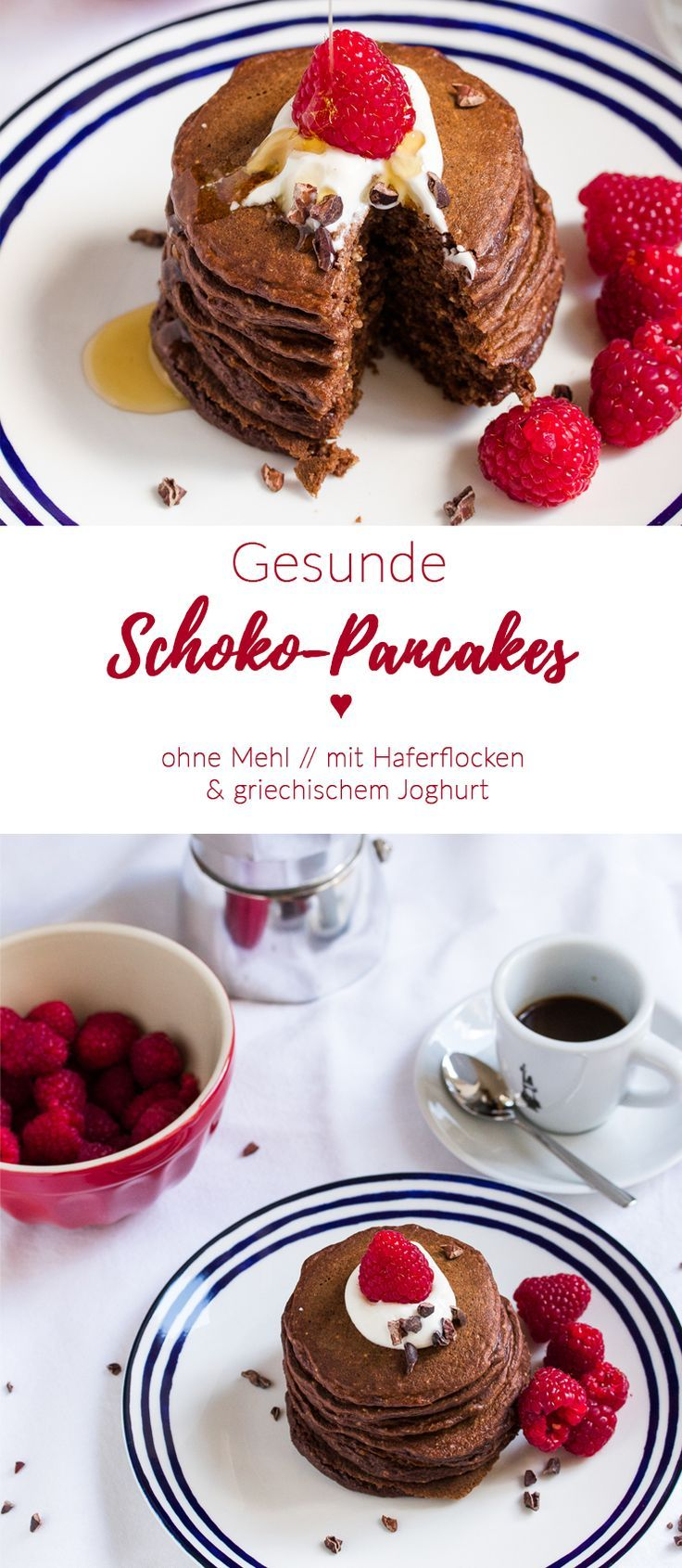 schoko pancakes ohne mehl mit haferflocken und joghurt low carb pancakes and food. Black Bedroom Furniture Sets. Home Design Ideas