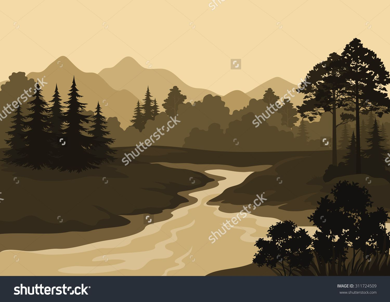 Stock Vector Night Landscape Mountains River And Trees Silhouettes Vector 311724509 Jpg 1500 1161 Night Landscape Tree Silhouette Silhouette Vector