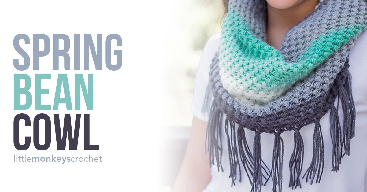 Spring Bean Cowl | Arts and Crafts | Croché, Frazadas, Ponchos