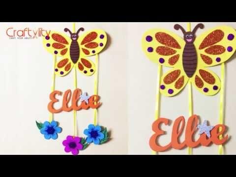 Diy Door Name Plate For Kids Room Foam Craft Wall Hanging Kids Craft Youtube Door Name Plates Foam Crafts Diy Door