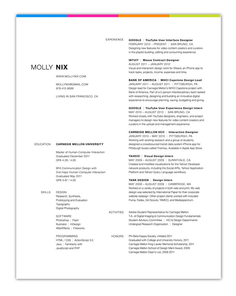 Resume Design Inspiration Grid  White Space Resume Layout  Typography  Pinterest  Resume