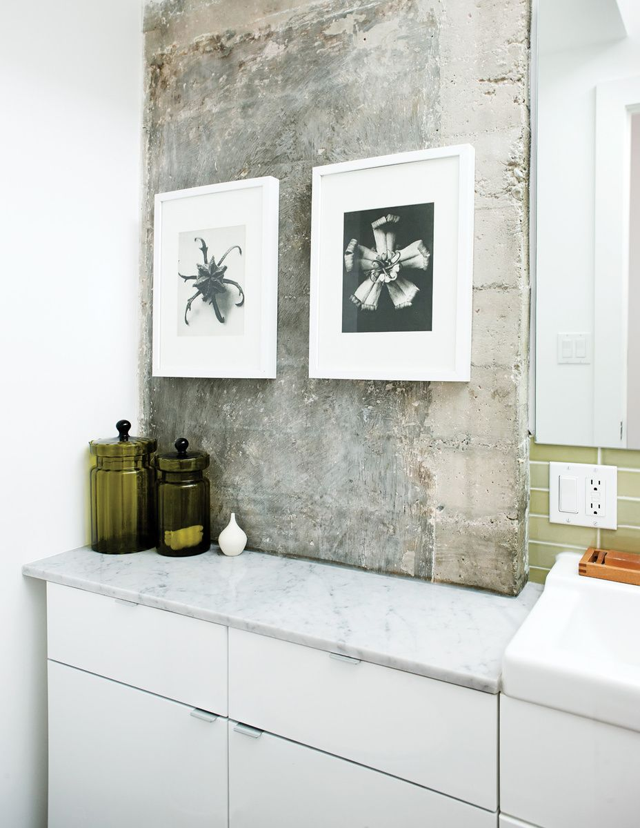 IKEA kitchen cabinets in a small bathroom, via Dwell | home ...