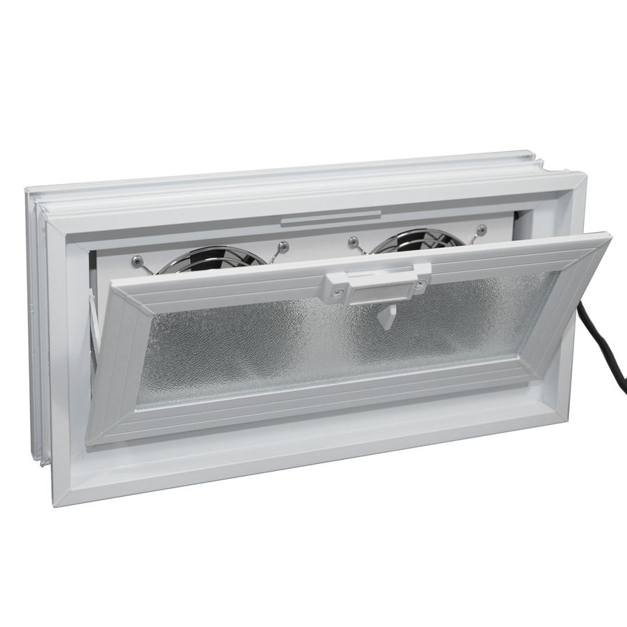 Redi2set Glass Block Vent Common 16 In W X 8 In H X 3 In D Actual 15 5 In W X 7 75 In H X 3 125 In D With Images Glass Block Windows Window Fans Glass Blocks