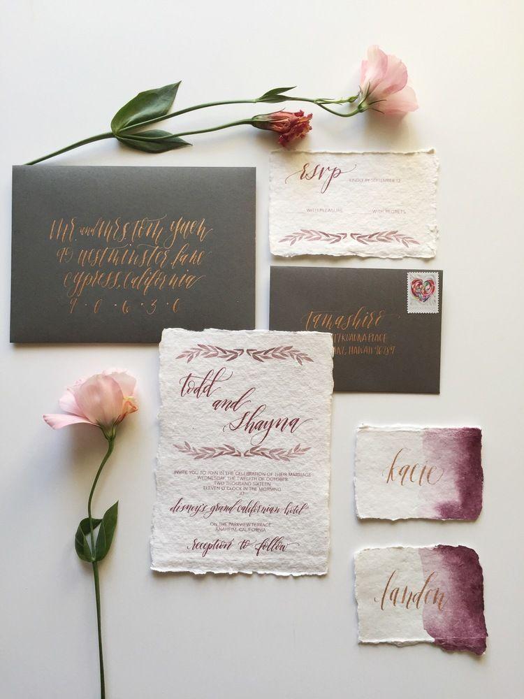 Watercolor Marsala and Slate Grey wedding invitations | Double ...