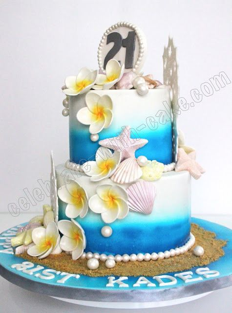 Beach Themed Cakes Celebrate With Cake Beach Themed Cake With
