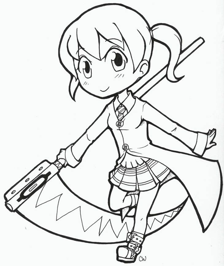 cute chibi maka in soul eater coloring page for kids coloring