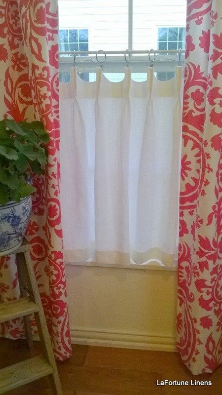 Linen Cafe Curtain Scalloped French Or Pinch Pleat Cafe Curtains Custom Drapery Panels Curtains